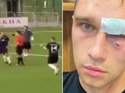Brutal ataque de un ex futbolista ruso a un árbitro