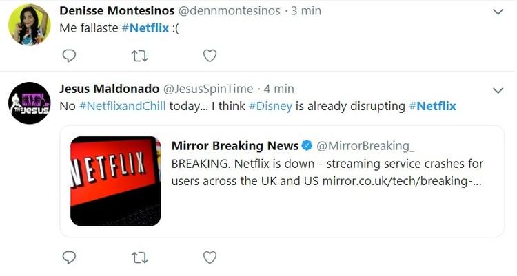 Los usuarios recurrieron a las redes sociales para compartir sus quejas sobre las fallas de Netflix.