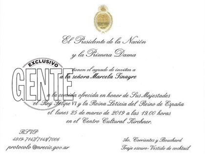 La invitación que recibió la hija de la diva a la cena de honor. Foto: Revista GENTE