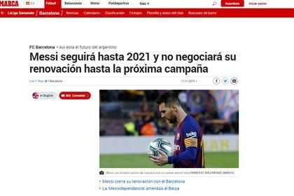 Captura del artículo del diario Marca sobre el futuro de Lionel Messi