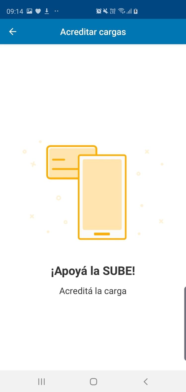 Una vez que cargó el saldo hay que acreditar el monto, apoyando el móvil en la parte posterior del celular.