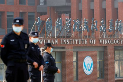 Personal de seguridad frente al Instituto de Virología de Wuhan durante la visita de la OMS al sitio (REUTERS/Thomas Peter)