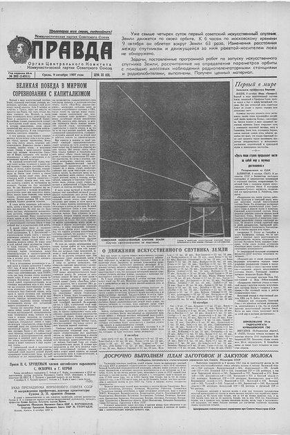 El diario soviético Pravda anuncia la puesta en órbita del Sputnik