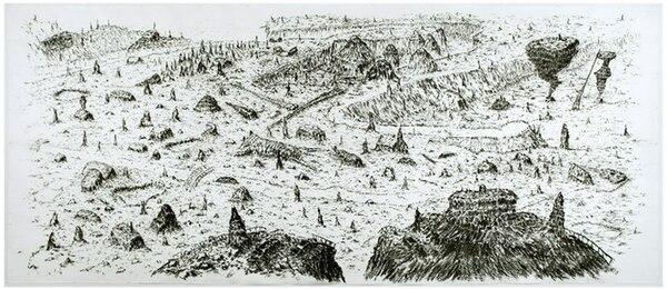 """Garimpo"", dibujo de grandes dimensiones de Matías Duville. Museo de Arte Moderno. CPPC"