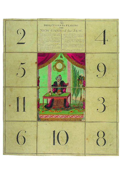 """""""El nuevo juego de moda del judío"""" se basó en un pasatiempo de apuestas de la era medieval. El ganador era el jugador que lograba los números más altos en los dados y recolectaba la mayor cantidad de fichas. (Museo judío en Londres)"""