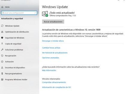Windows Update está integrado a Windows 10.