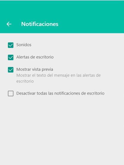Desde la configuración puede desactivar las notificaciones