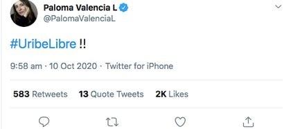 Trino de Paloma Valencia celebrando la liberación del expresidente.  (@PalomaValenciaL)