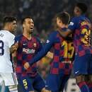 Barcelona's French defender Clement Lenglet (2R) celebrates scoring the opening goal during the Spanish league football match between FC Barcelona and Real Valladolid FC at the Camp Nou stadium in Barcelona on October 29, 2019. (Photo by LLUIS GENE / AFP)