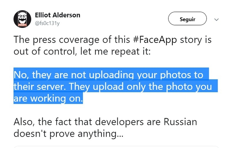 """El desarrollado Baptiste Robert publicó en Twitter que FaceApp """"no está subiendo tus fotos a sus servidores. Suben sólo la foto en la que estás trabajando""""."""