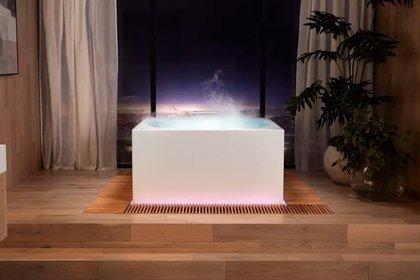 La nueva bañera de Kohler responde a comandos de voz para ajustar la temperatura del agua, poner luces de colores y combinaciones de aromaterapia