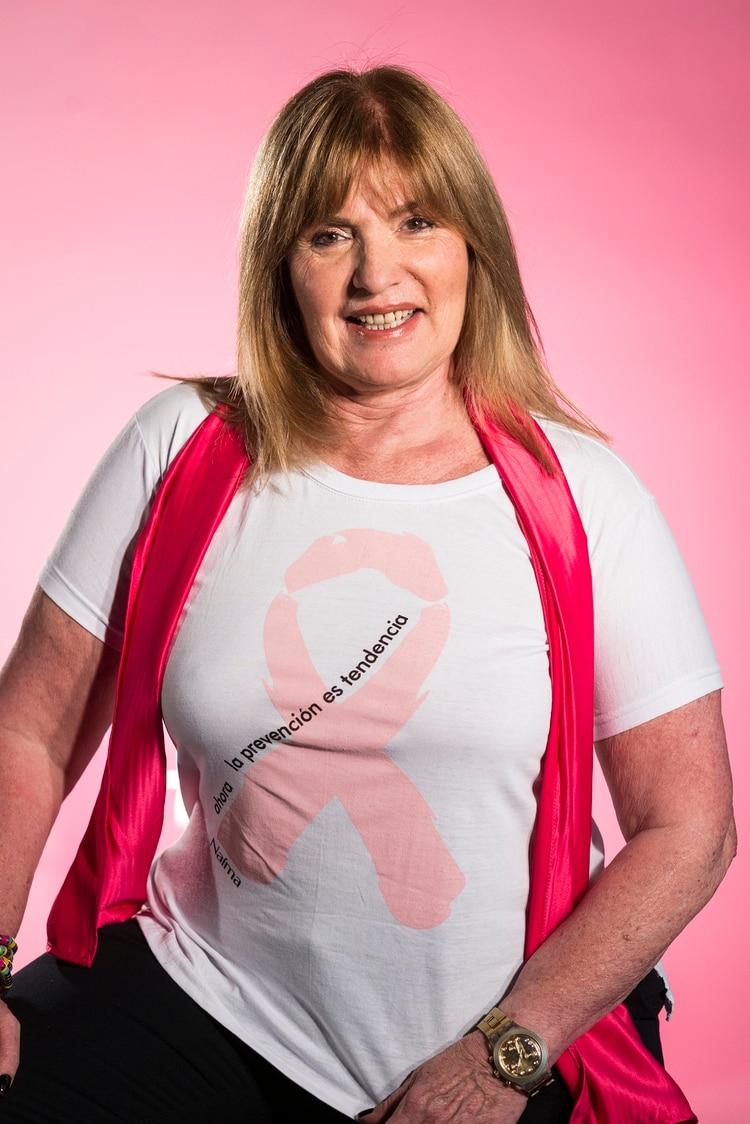 La directora de Neiman Producciones durante una campaña de concientización del cáncer de mama en Infobae (Gustavo Saiegh)