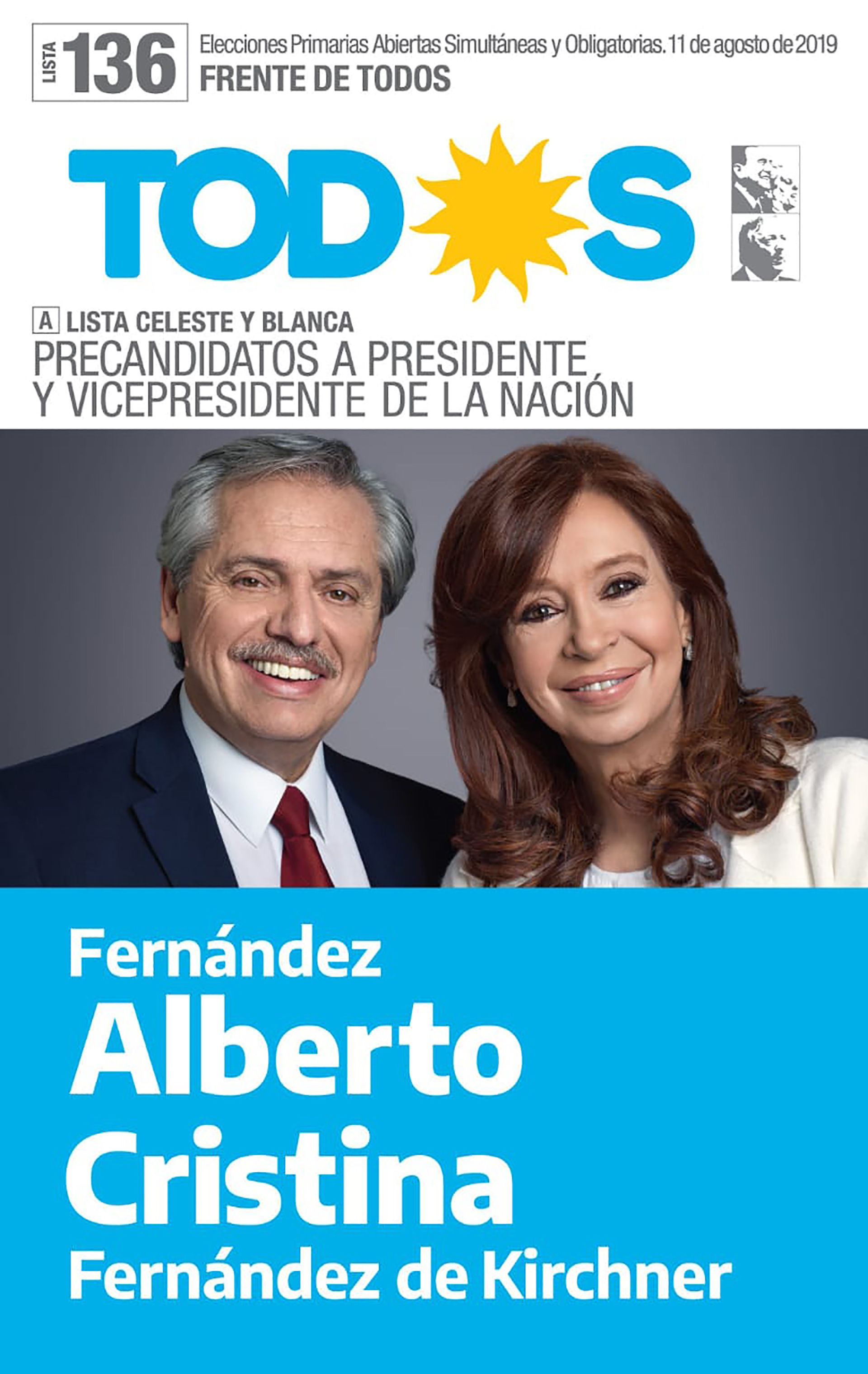 Boleta oficial de la fórmula Alberto Fernández-Cristina Fernández de Kirchner