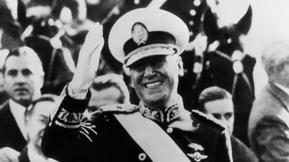 Mandatory Credit: Photo by Everett/Shutterstock (10307361a)Juan Peron, newly elected President of Argentina waves to crowds from inaugural parade. Peron wears the uniform of a Brigadier General. He took the oath of office for a six-year term in ceremonies before a joint session of the Argentine Congress on June 4, 1946.Historical Collection