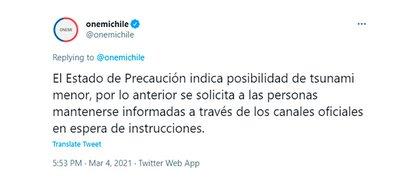 Informe de la Oficina Nacional de Emergencia de Chile (Onemi)