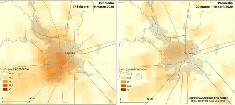 Mapa comparativo de NO2 en Córdoba, de febrero-marzo - marzo-abril (CONAE)
