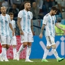 From left, Argentina's Javier Mascherano, Nicolas Otamendi and Lionel Messi leave the pitch at the end of the group D match between Argentina and Croatia at the 2018 soccer World Cup in Nizhny Novgorod Stadium in Novgorod, Russia, Thursday, June 21, 2018. Croatia won 3-0. (AP Photo/Pavel Golovkin)