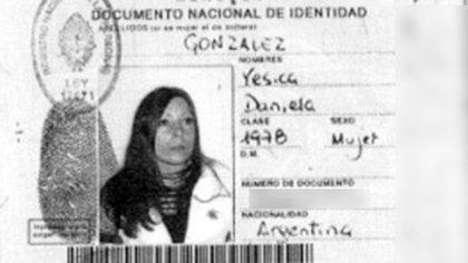 Yésica Daniela González: su documento que consta en la causa.