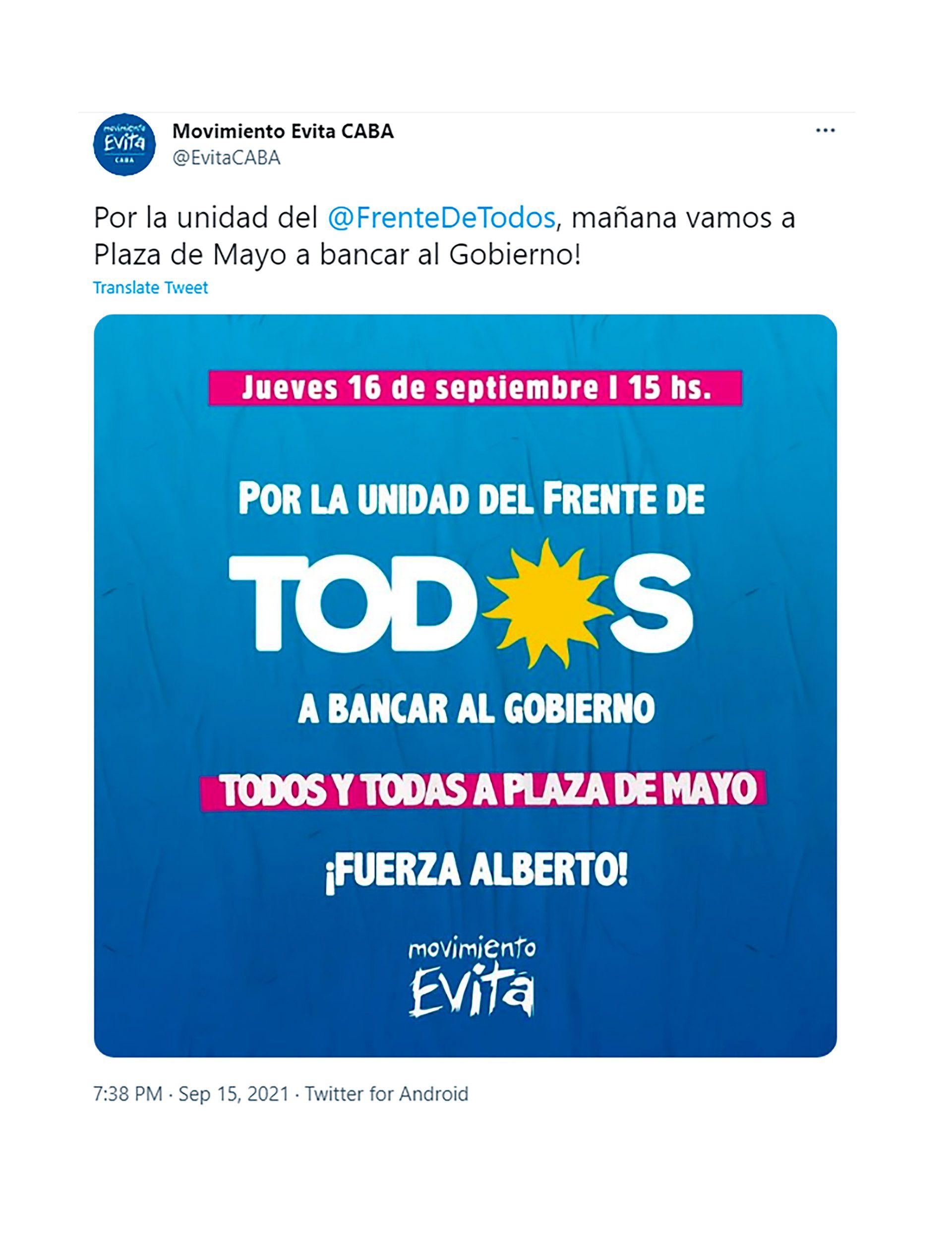 movimiento evita marcha plaza de mayo apoyo Alberto Fernandez