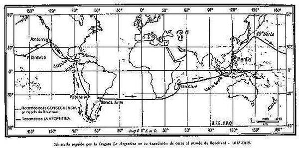 La ruta de Bouchard en su vuelta al mundo