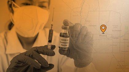 El sitio del Departamento de Salud del condado de Maricopa muestra que se han distribuido 65,552 vacunas COVID-19 hasta el día de hoy. (Ilustración: Jovani)
