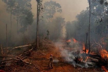 Un bombero combate las llamas en un incendio forestal en la ciudad de Uniao do Sul, en Mato Grosso, Brasil, 4 de septiembre de 2019. REUTERS/Amanda Perobelli