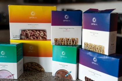 Optavia weight loss shakes and snaks at the home of Brenda Olmos in Austin, Texas, on May 2, 2021. The company that makes the products is having trouble filling customer orders. (Ilana Panich-Linsman/The New York Times)