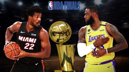 Jimmy Butler, del Miami Heat, contra LeBron James, de los LA Lakers. Los grandes protagonistas de las finales de la NBA (Mariano Llanes-Infobae)