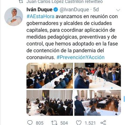 Trino en el que el presidente Iván Duque comparte la reunión a la que convocó a los alcaldes y gobernadores para evaluar las medidas a tomar por el coronavirus. Para esa fecha ya se habían restringido los eventos que aglutinaran un amplio número de personas.