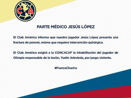 Comunicado sobre lesión de Chucho López (Foto: Twitter@ClubAmerica)