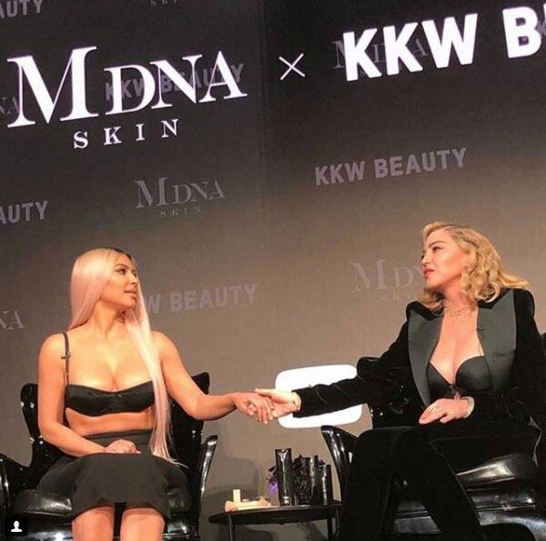 Kim Kardashian y Madonna promocionaron sus líneas de belleza en una charla en el YouTube Space de Los Ángeles
