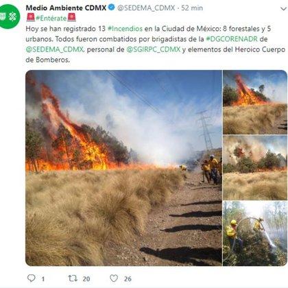 Los incendios generan las partículas PM 2.5 (Foto: Twitter)