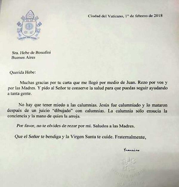 La carta del Papa a Hebe que aparece en la denuncia