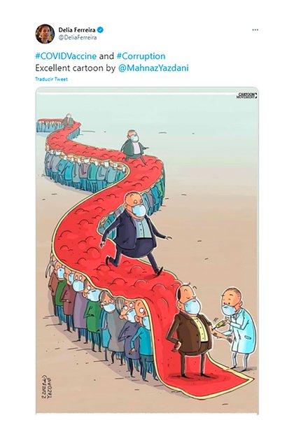 """Delia Ferreira Rubio, presidenta de Transparencia Internacional, divulgó una muy clara ilustración de una dibujante iraní sobre los privilegios en la vacunación, que llamó """"un claro caso de corrupción""""."""