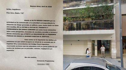 La carta recibida por la médica por debajo de la puerta de su departamento, un día después de haberse mudado