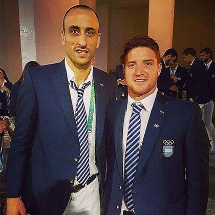 Pablo Vainstein junto a Manu Ginóbili en la ceremonia de inauguración de los Juegos Olímpicos de Río de Janeiro 2016