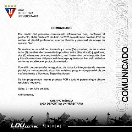 El comunicado oficial de Liga de Quito