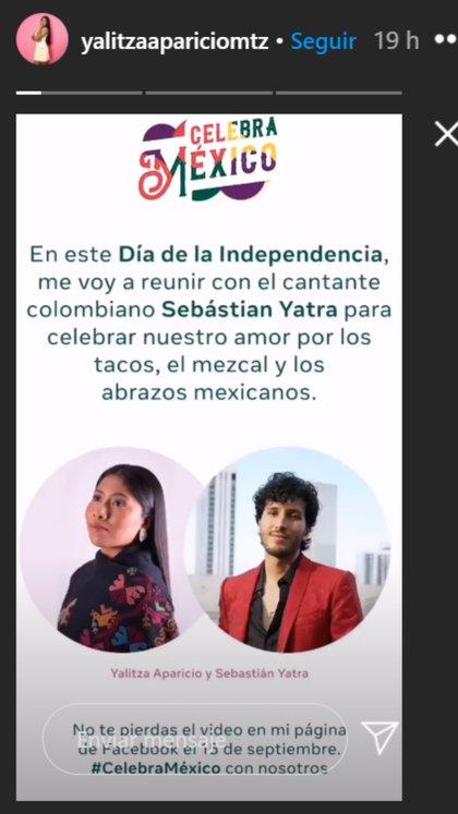 La actriz anunció en sus redes sociales que pasará el festejo con el cantante colombiano. Ambos no se conocen en persona (Captura de Pantalla: Instagram @yalitzapariciomtz)