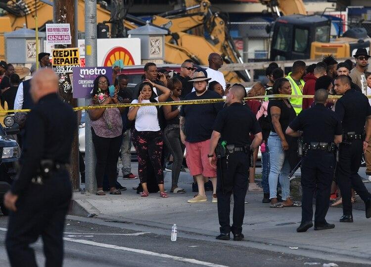 El lugar del tiroteo en Los Ángeles (Mark RALSTON / AFP)