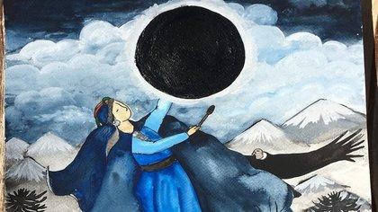 La comunidad mapuche tendrá la oportunidad de observar el eclipse solar total en vivo sobre sus tierras. Foto gentileza: Encuentroancestral.cl