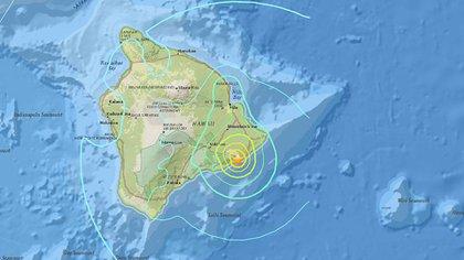 La zona de Hawaii donde ocurrió el temblor de magnitud 6,9 (Twitter: @USGS)
