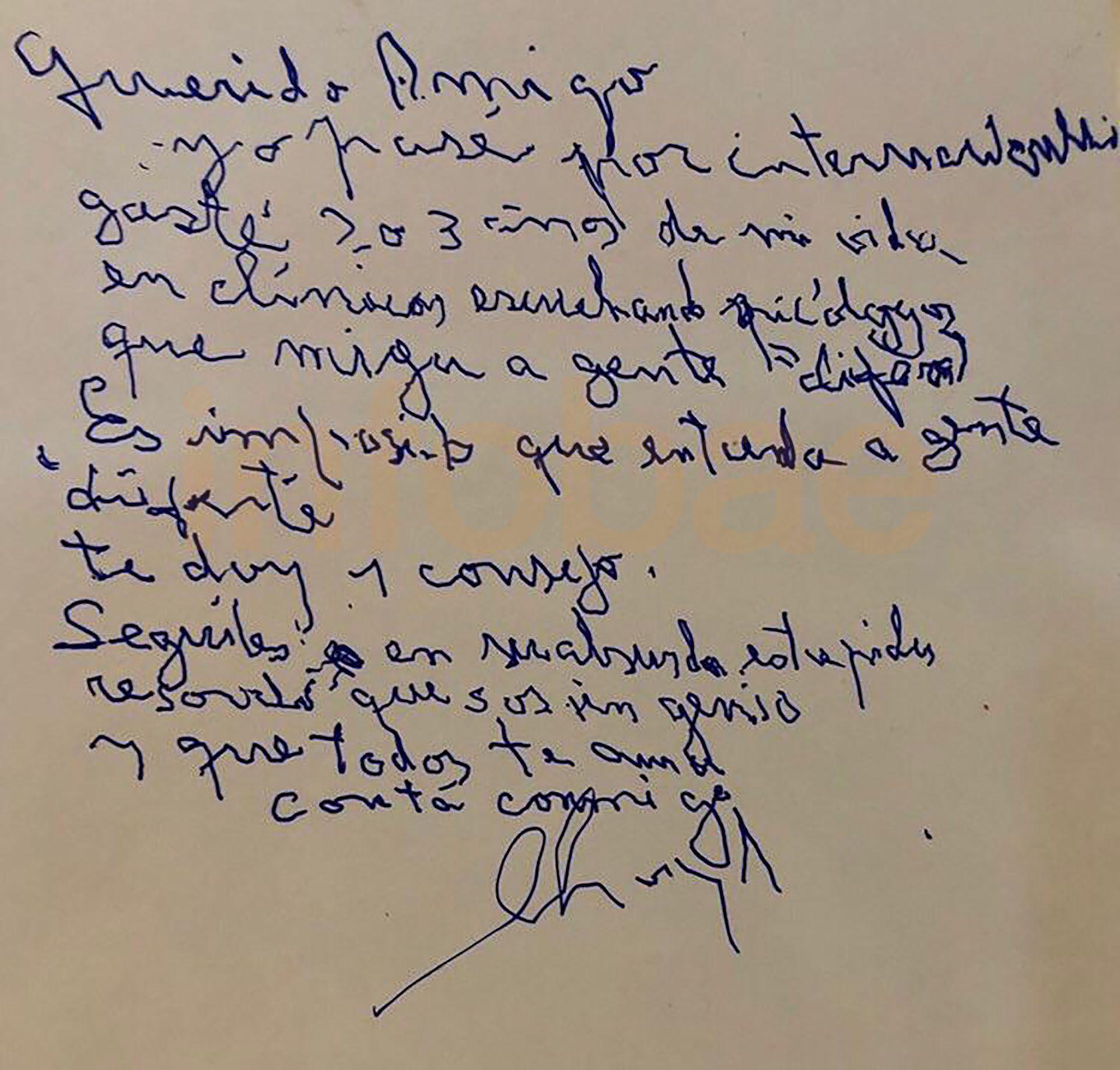 carta de puño y letra de Charly García a Maradona