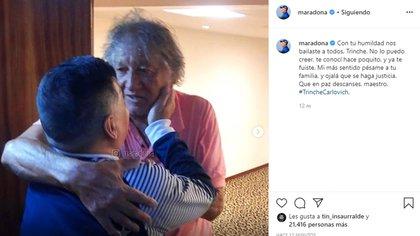El mensaje de despedida de Diego Armando Maradona para el Trinche Carlovich en las redes sociales