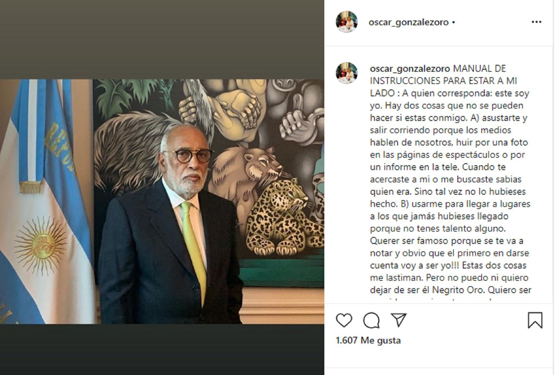 El posteo que realizó Oscar González Oro en su cuenta personal de Instagram