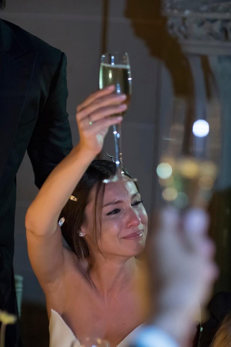 La emoción de Pampita durante la fiesta