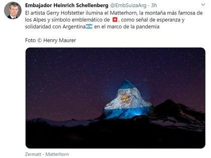 El tuit del embajador suizo en Argentina