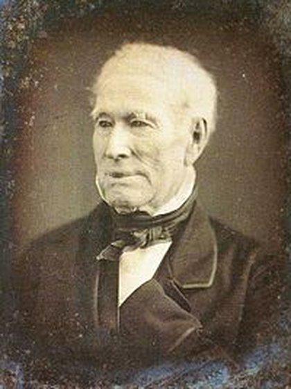 El almirante Guillermo Brown, ya anciano, en un daguerrotipo.