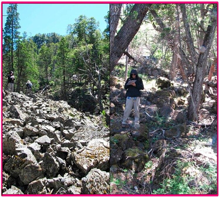 El equipo de Folguera, trabajando sobre las rocas de la zona