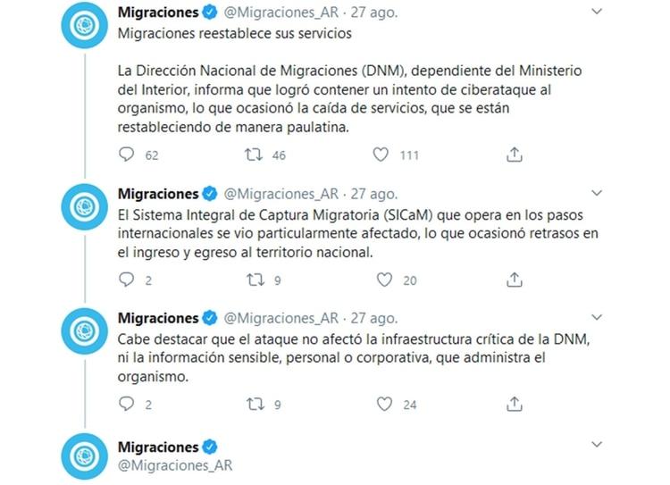 Migraciones reconoció el incidente y dijo que no había afectaddo infraestructura crítica (@Migraciones_AR)