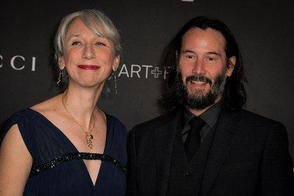 Keanu Reeves y Alexandra Grant en la gala LACMA Art + Film (Foto: AFP)